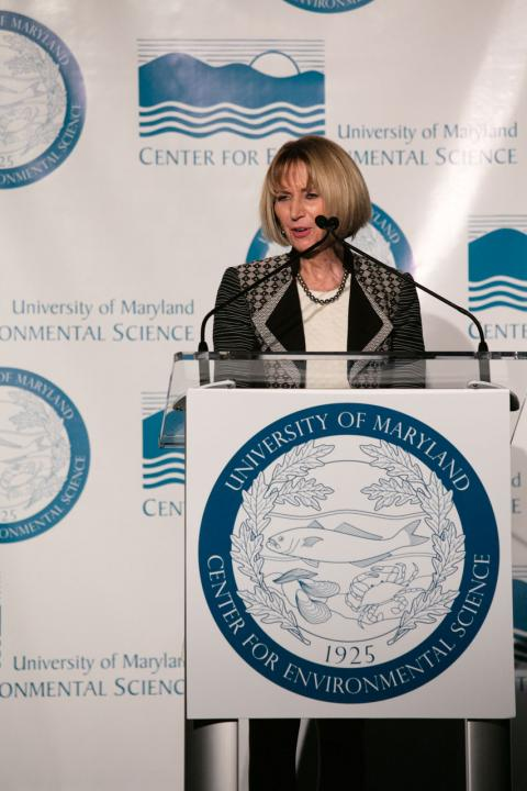 Marcia McNutt gives the keynote address.