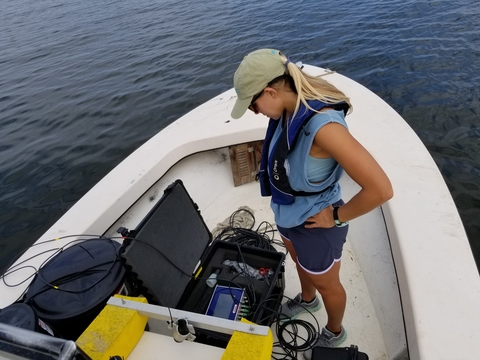 Anna Windle on boat conducting drone research