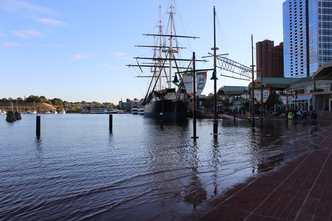 Water on the pathway of Baltimore's Inner Harbor