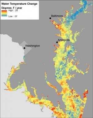 Map showing temperature trends in Chesapeake Bay