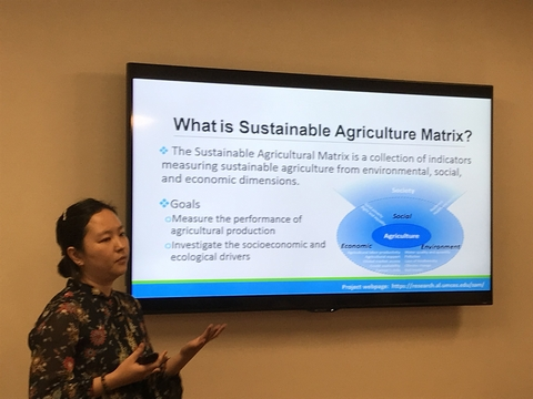 Xin presenting Sustainable Agriculture Matrix