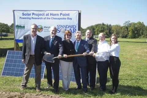 Standard Solar, Maryland Energy Administration, Horn Point Laboratory and UMCES pose at the solar field groundbreaking