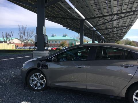 An electric car charging station at Horn Point Laboratory is part of a solar canopy newly built at the campus.