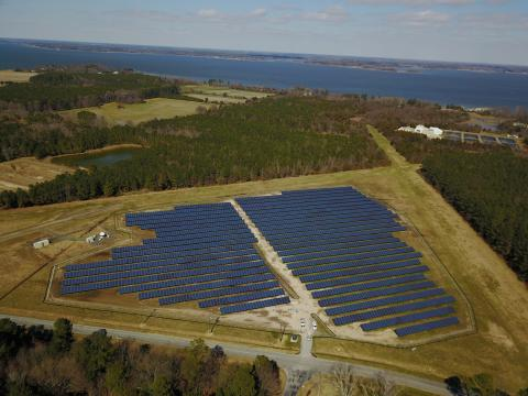 An aerial view of the solar field at Horn Point Laboratory looking toward Chesapeake Bay.