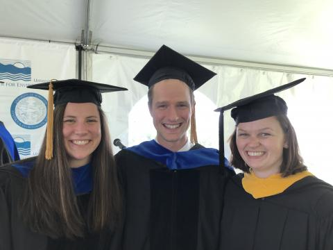 Kelly Pearce, Robert Sabo, and Annie Carew at 2019 UMCES Commencement