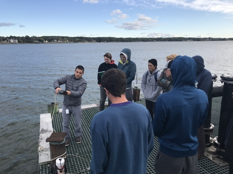 Dr. Testa gives undergraduate students a tour on the research pier