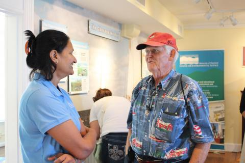 A CBL docent volunteers in the Chesapeake Biological Laboratory Visitor Center