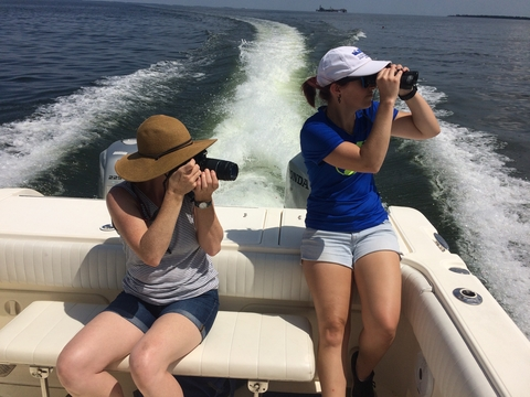 Amber Fandel and Jamie Testa searching for dolphins on the Chesapeake Bay