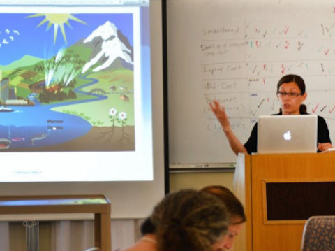 Teacher at podium teaching class about climate change