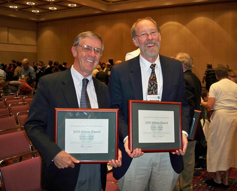 Michael Kemp and Walter Boynton receiving the Odum Award for Lifetime Achievement.