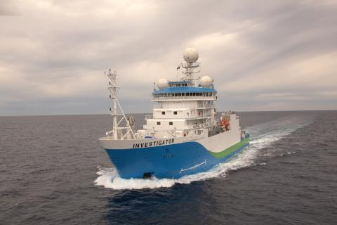 Research Vessel Investigator at sea