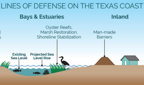an Infographic showing lines of defense on the Texas Coast