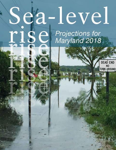 Sea-Level Rise Projections for Maryland 2018 cover photo of flooded road