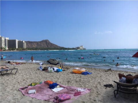 Sunbathers on the beach at Waikiki, Hawaii.