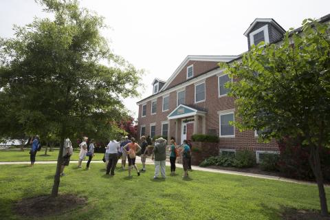 People take a tour of the Chesapeake Biological Laboratory's Solomons campus.