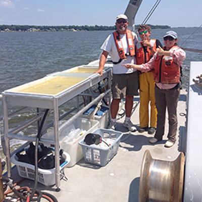 On the deck of the R/V Rachel Carson