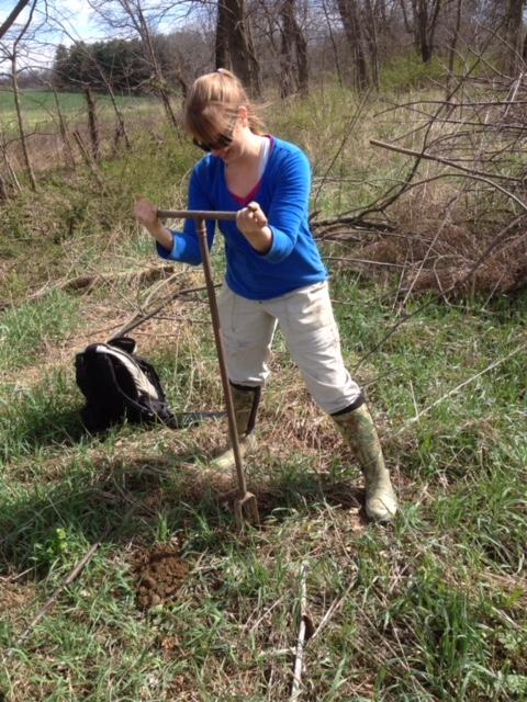 Stephanie Siemek doing field work.