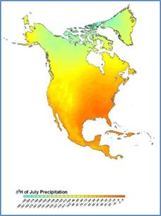 Image showing the gradient of stable hydrogen isotopes in rainfall across North America