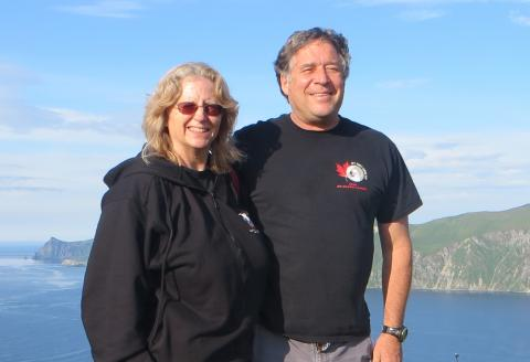 Jackie Grebmeier and Lee Cooper in Dutch Harbor on Amaknak Island in Alaska. Photo by Deanna Wheeler, JC Parks Elementary School, Indian Head, Maryland