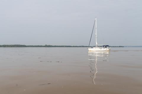 A calm Chesapeake Bay with murky water after a storm event