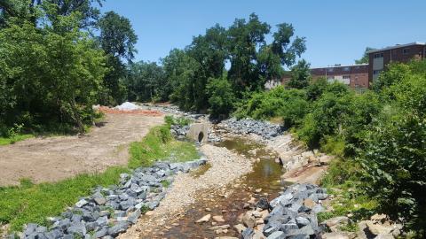 urban stream restoration project in Baltimore City