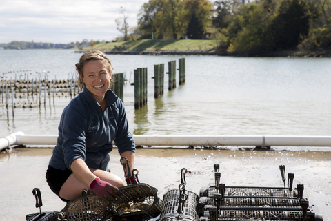 Shannon Hood at oyster hatchery