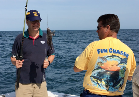 David Secor catches a black sea bass
