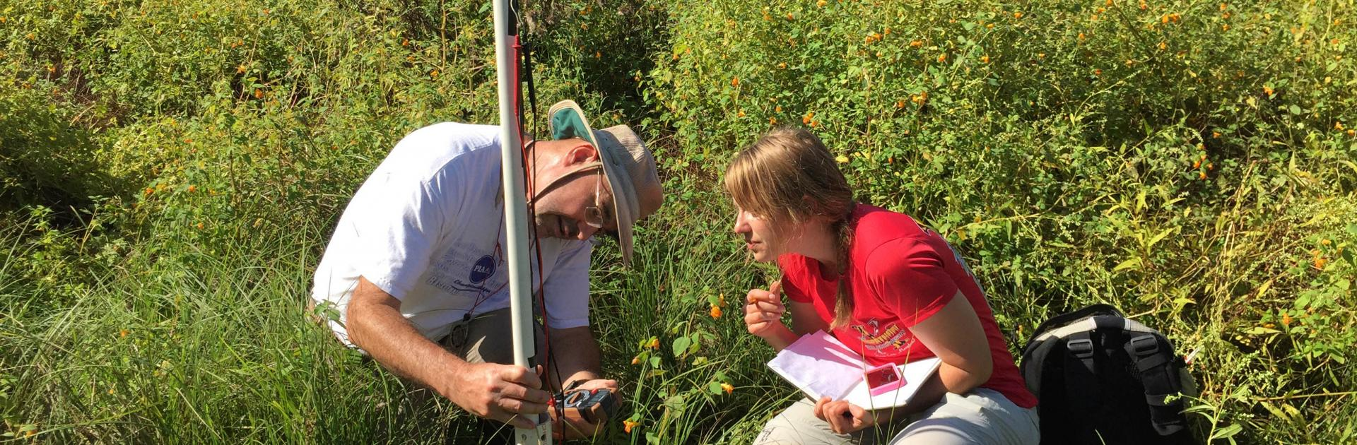 Appalachian Laboratory Professor Keith Eshleman and graduate student Stephanie Siemek observe groundwater.