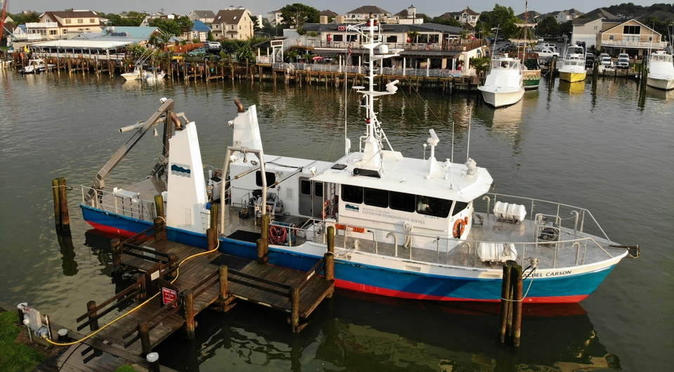 The UMCES research vessel R/V Rachel Carson docked in Ocean City, Maryland